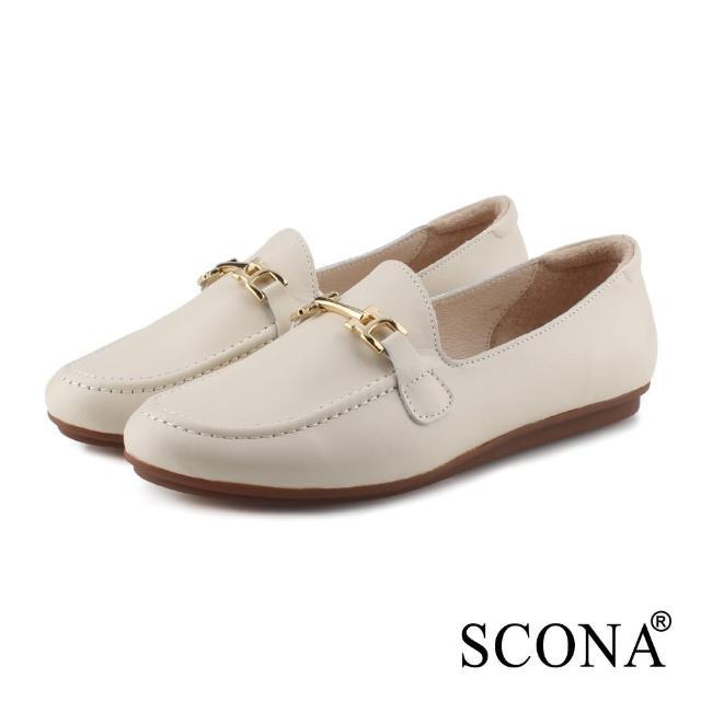 【SCONA 蘇格南】全真皮 復古馬銜釦舒適樂福鞋(米色 31091-4)