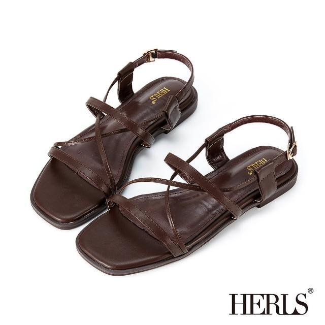 【HERLS】涼鞋-一字交叉後帶平底涼鞋(深棕色)