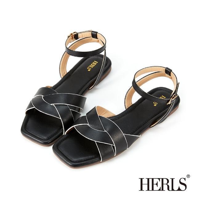 【HERLS】涼鞋-麻花編織方頭繞踝平底涼鞋(黑色)