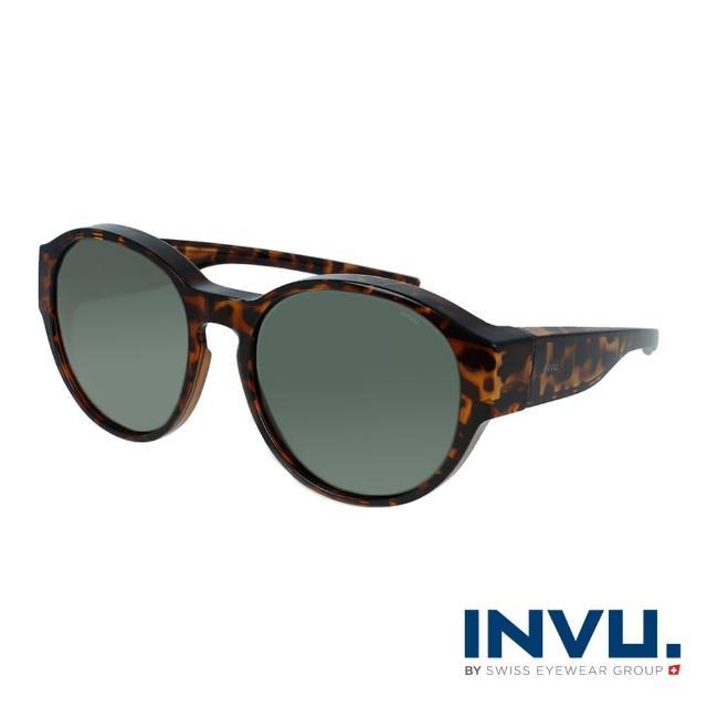 【INVU】瑞士經典圓框套鏡式偏光太陽眼鏡(豹紋 E2000D)
