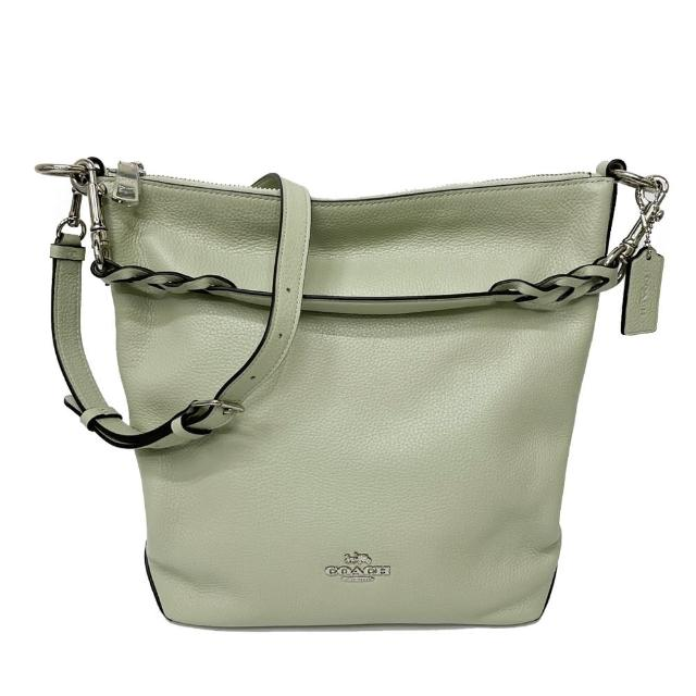 【COACH】牛皮肩背/斜背兩用大水桶包(大款-草綠)