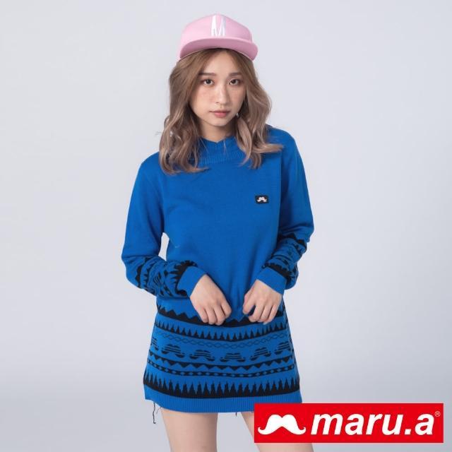 【maru.a】胸口鬍子標籤下擺圖案裝飾針織連帽上衣(深藍)