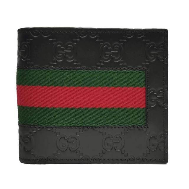 【GUCCI 古馳】經典Guccissima壓紋系列綠紅綠織帶牛皮折疊短夾(黑色)
