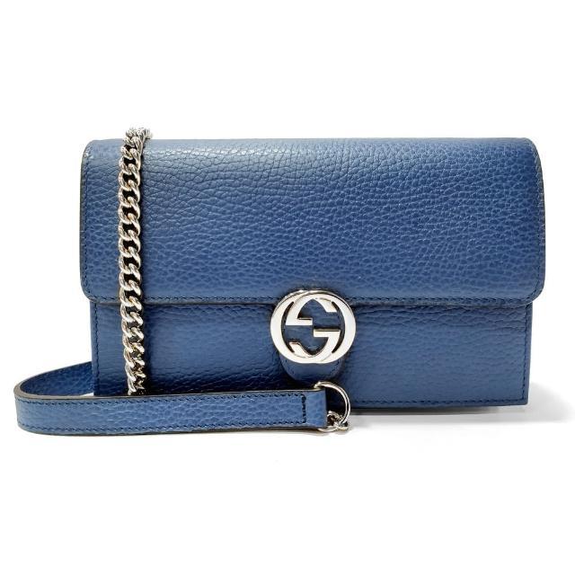 【GUCCI 古馳】510314 經典雙G金屬LOGO荔枝紋牛皮鏈帶扣式斜背包(藍色)