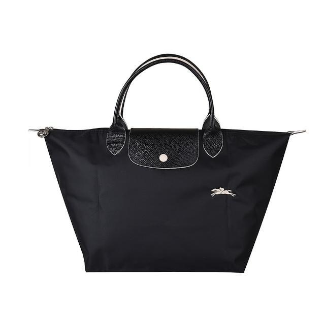 【LONGCHAMP】LONGCHAMP刺繡LOGO撞色設計尼龍短提把拉鍊摺疊手提包(中/黑x白)