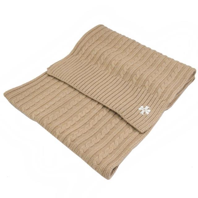 【TORY BURCH】刺繡字母雙T純羊毛針織披肩長圍巾(駝)