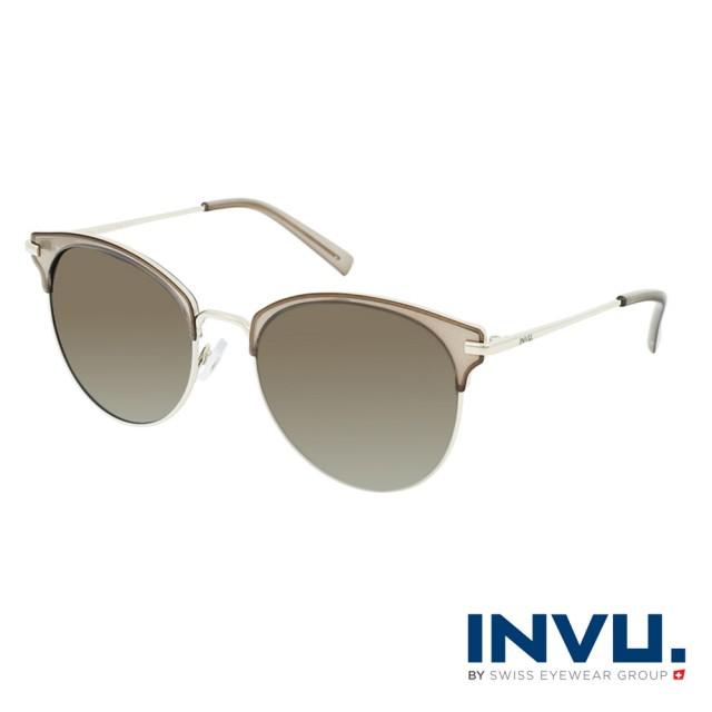 【INVU】瑞士輕透感貓眼眉框偏光太陽眼鏡(米棕/金 B1114C)