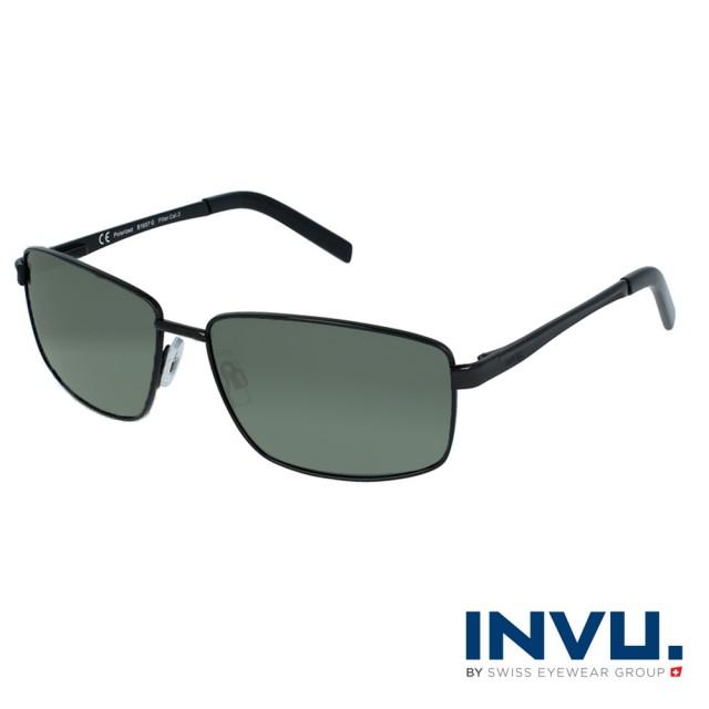 【INVU】瑞士時尚沉穩偏光太陽眼鏡(啞光黑 B1607G)