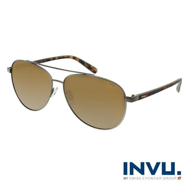 【INVU】瑞士頂極簡約飛行員偏光太陽眼鏡(琥珀 B1123C)