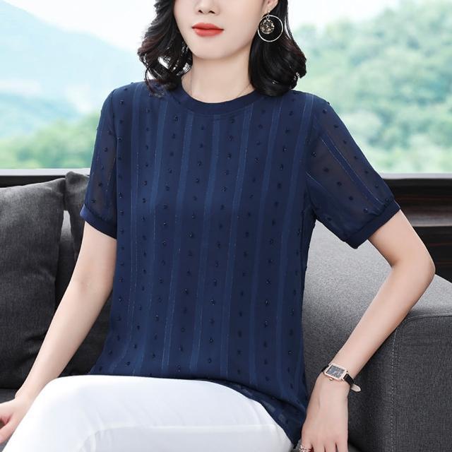 【ALLK 歐楷】條紋雪紡衫上衣 藍色(尺寸L-XXL)