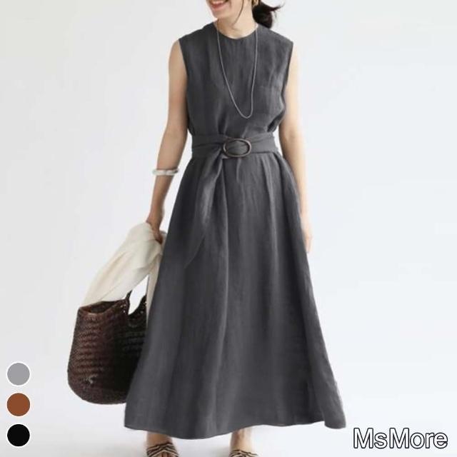 【MsMore】亞馬遜日光浴配腰帶無袖棉麻寬鬆洋裝#109699現貨+預購(3色)