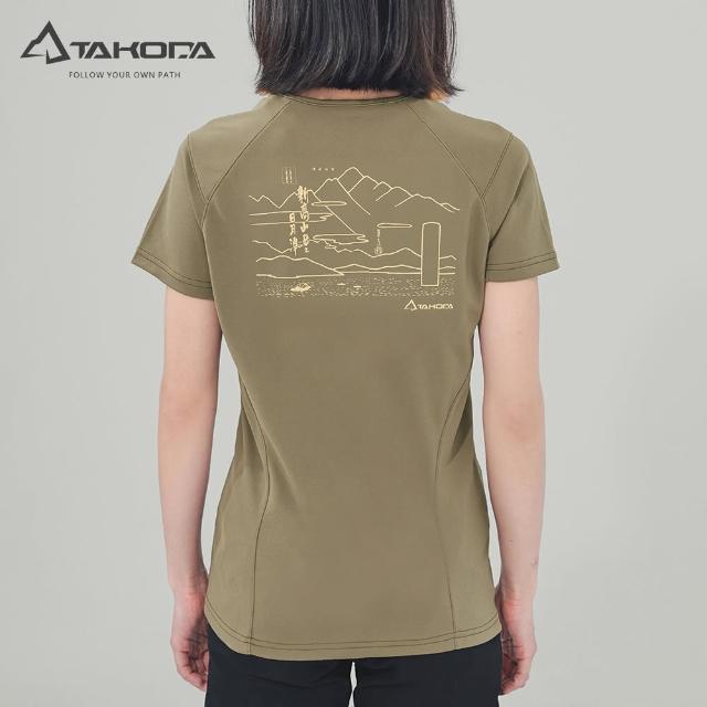 【TAKODA】環保機能短袖印花系列-新高山岳經典T恤 女款 橄欖綠(吸濕排汗/舒適涼感/抗菌吸臭)