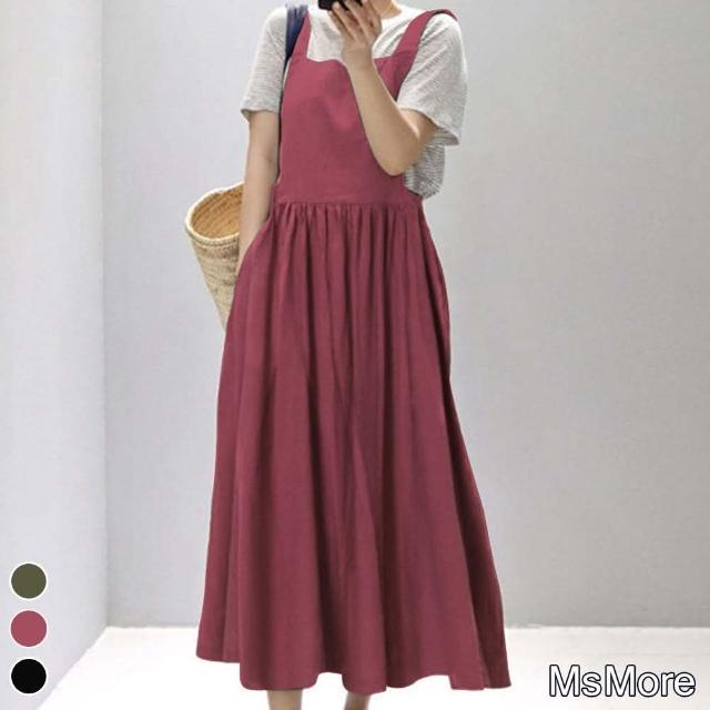 【MsMore】日本大阪風情復古口袋寬版吊帶棉麻洋裝#109701現貨+預購(3色)