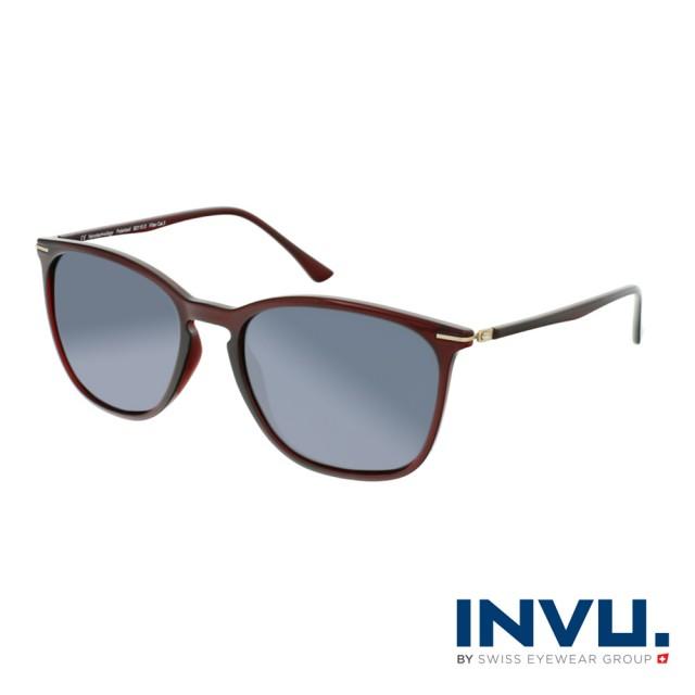 【INVU】瑞士簡約絞鏈設計偏光太陽眼鏡(酒紅 B2110D)