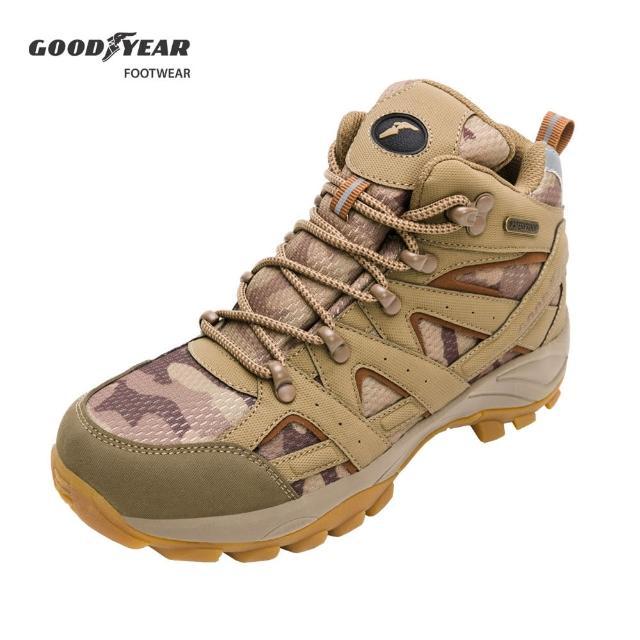 【GOODYEAR 固特異】戰術靴-郊山健行鞋 女 戶外 動態防水襪套 耐磨 高筒 棕色(固特異GAWO12504)