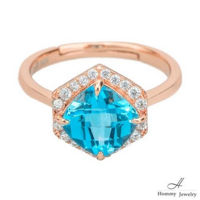 【幸福珠寶】『湛藍海洋』天然頂級托帕石人氣設計款戒指(無人能敵 絕美托帕石)