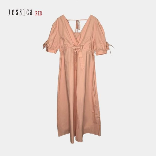 【Jessica Red】棉質V領短袖寬鬆長洋裝(玫瑰粉)
