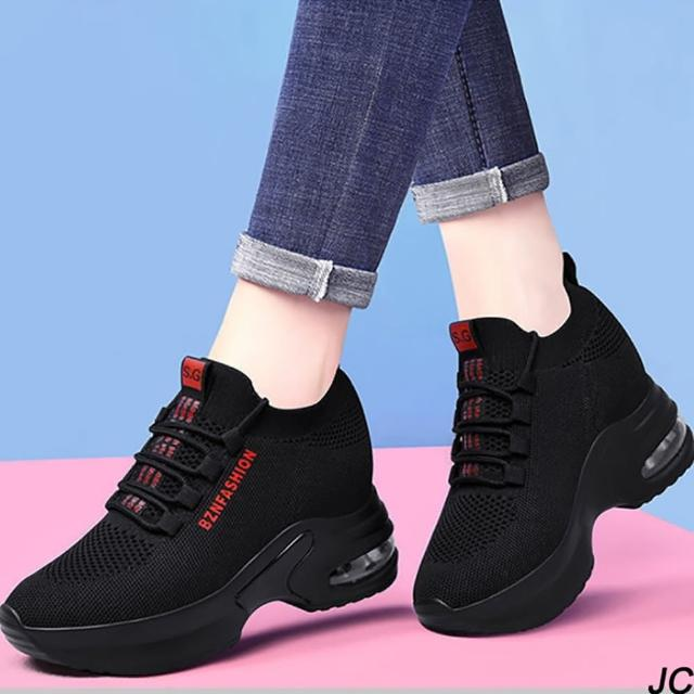 【JC Collection】質感飛織透氣彈力帥氣氣墊厚底內增高顯瘦休閒鞋運動鞋(黑色)