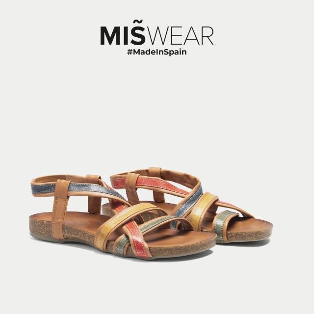 【MISWEAR】Porronet 多色亮面不對稱交叉涼鞋-彩色