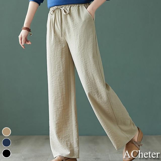 【ACheter】纖瘦鬆緊腰系帶高垂感軟軟居家棉麻感涼爽長褲#109675現貨+預購(3色)