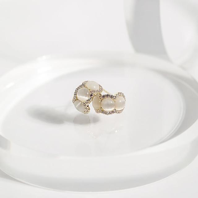 【ZANZAN 冉冉】抗敏銀針-寶石嵌鑽C字貼耳耳環(抗敏耳環)