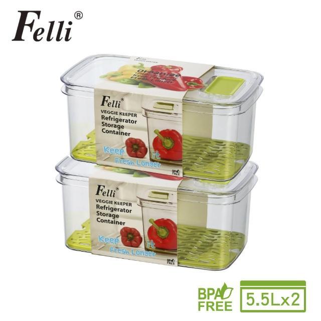 【Felli 飛綠】鮮寶蔬果保鮮盒-5.5L-2入組(蔬果野餐盒)