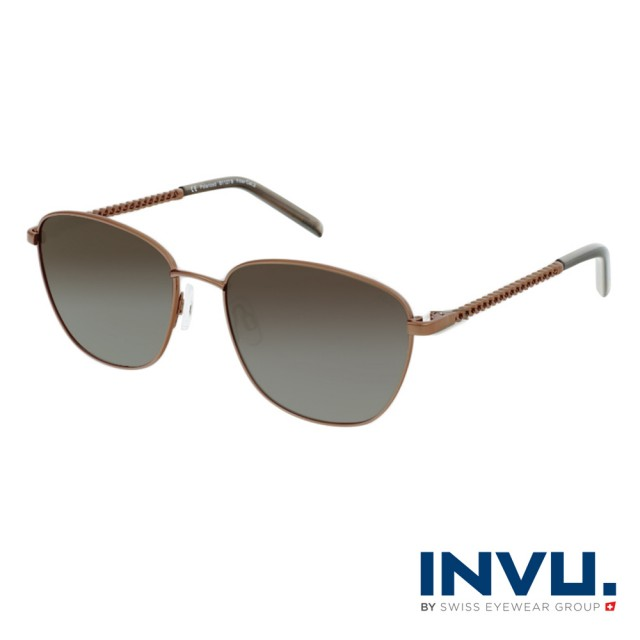 【INVU】瑞士圓框復古麻花鏡腳偏光太陽眼鏡(古銅 B1127B)