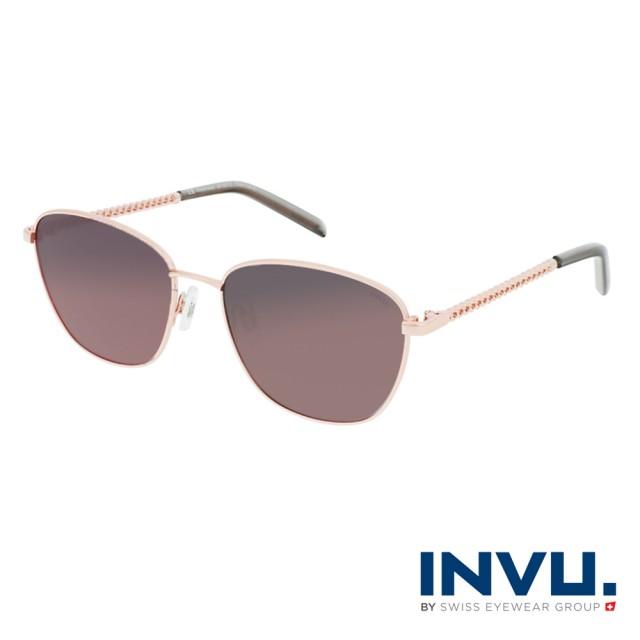 【INVU】瑞士圓框復古麻花鏡腳偏光太陽眼鏡(玫瑰金 B1127C)