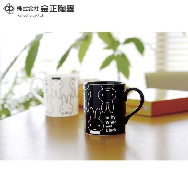 【Miffy 米飛】日本金正陶器 米菲兔 黑白陶瓷馬克杯2入組 260ml(日本製 日本原裝進口瓷器)