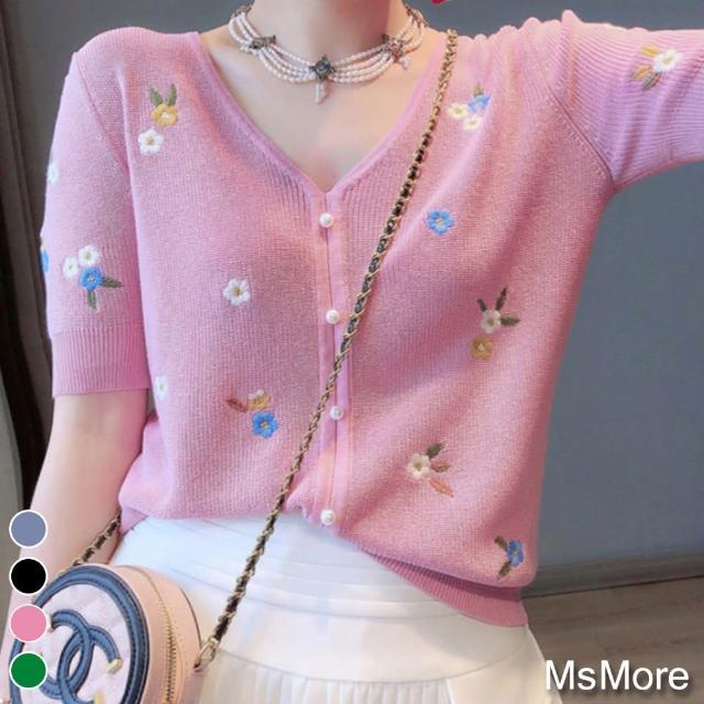 【MsMore】甜美佳人粉嫩繡花V領冰絲針織上衣#109513現貨+預購(4色)
