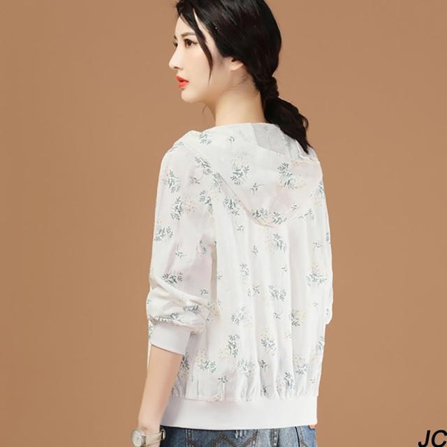 【JC Collection】舒適透氣純棉減齡印花刺繡俏麗連帽遮陽防曬空調薄外套(白色)