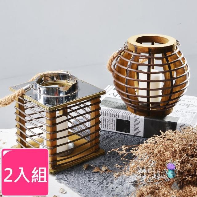 【Meric Garden】北歐復古創意木質麻繩燭台/家居裝飾擺設_2入/組(方形+圓形)