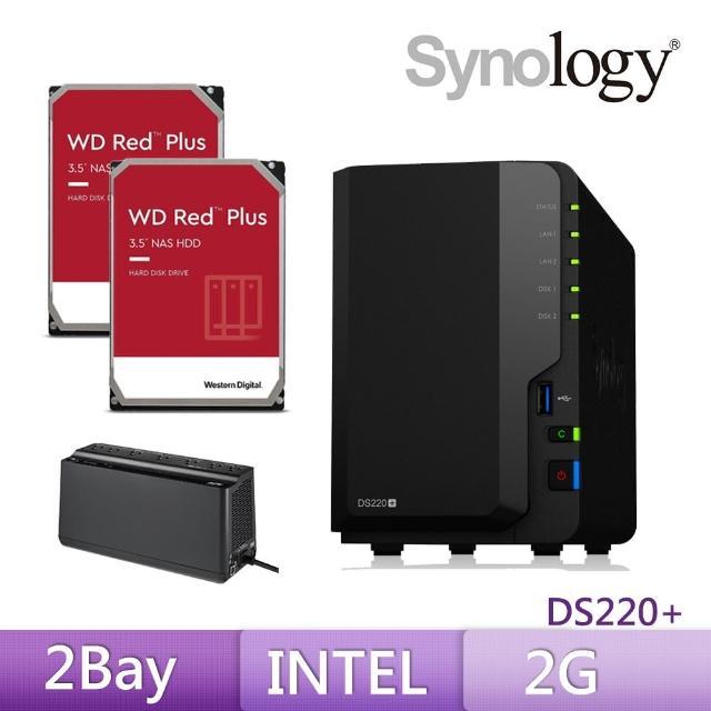 【搭APC 650VA離線式UPS+WD 4TB Plus x2】Synology 群暉科技 DS220+ 網路儲存伺服器