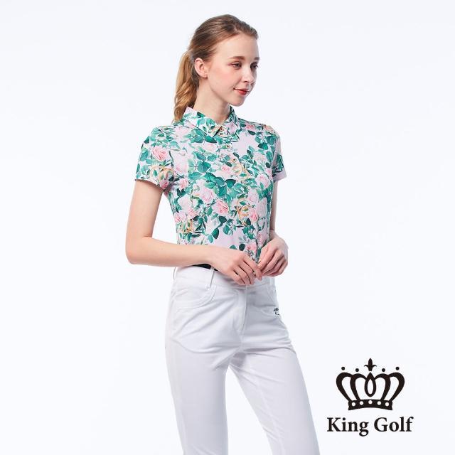 【KING GOLF】女款古典玫瑰手繪印花金蔥刺繡LOGO涼感短袖POLO衫(粉色)