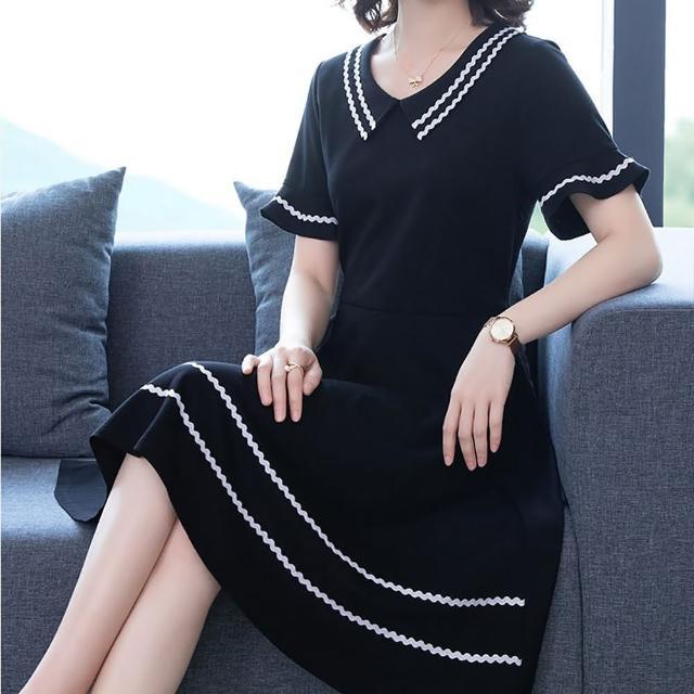 【麗質達人】20338黑色假二件洋裝(L-5XL)