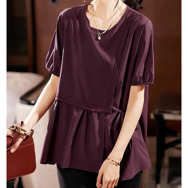 【麗質達人】7567設計款短袖上衣-二色(L-5XL)