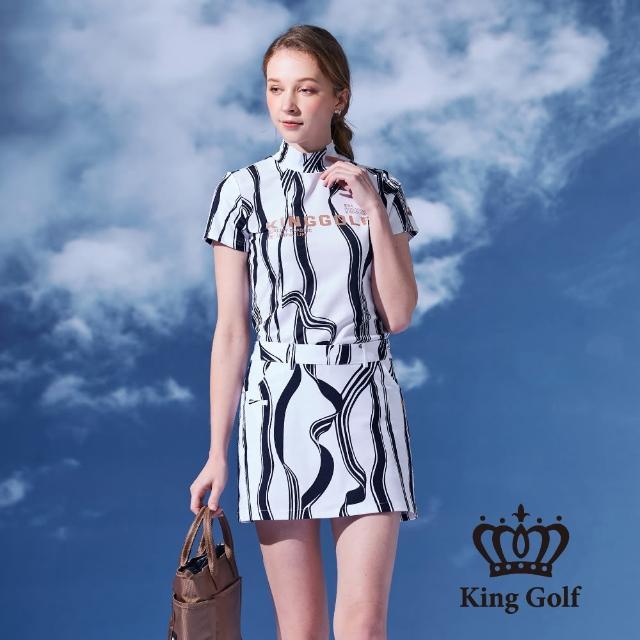 【KING GOLF】女款緞帶剪影印花涼感短袖拉鍊POLO衫(深藍)
