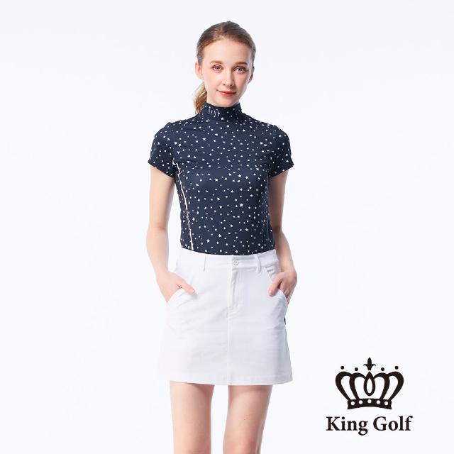 【KING GOLF】女款滿版星星印花線條撞色印圖涼感小立領上衣(丈青)