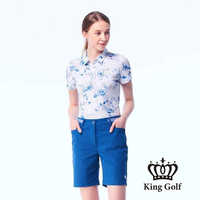 【KING GOLF】女款暈染花朵印花刺繡涼感短袖POLO衫(白色)