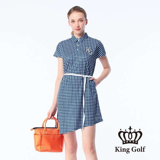【KING GOLF】女款經典格紋印花刺繡涼感收腰短袖連身裙(藍色)