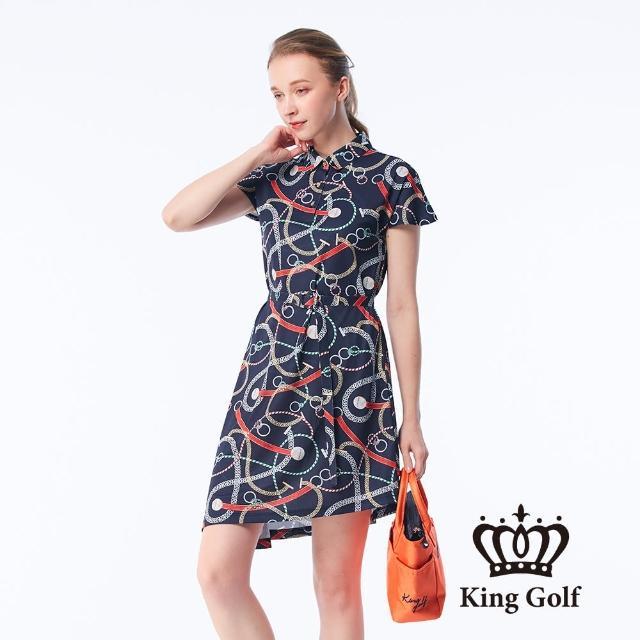 【KING GOLF】女款鎖鏈印花涼感收腰短袖連身裙(丈青)