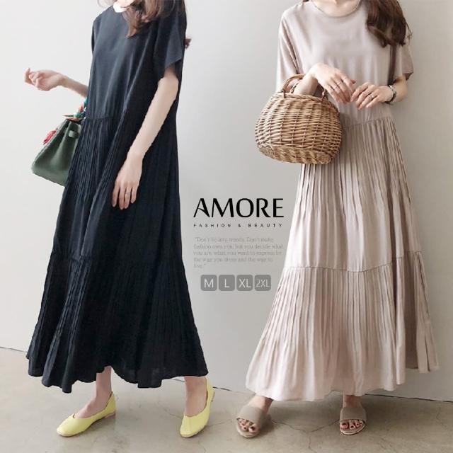 【Amore】日韓雪紡氣質百摺連身短袖洋裝(一件式氣質穿搭)