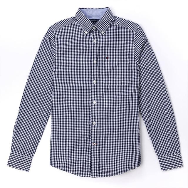 【Tommy Hilfiger】TOMMY 經典刺繡Logo長袖襯衫-深藍白格紋色