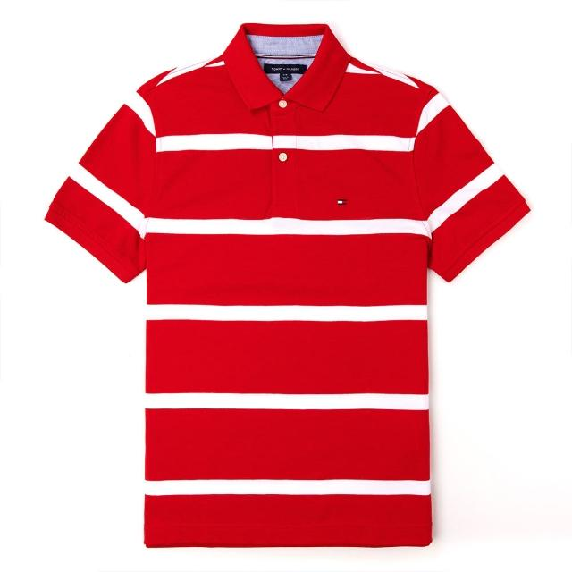 【Tommy Hilfiger】TOMMY 經典刺繡Logo短袖Polo衫-紅白條紋色