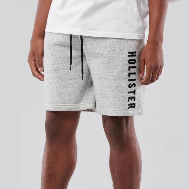 【HOLLISTER Co】Hollister 經典刺繡文字棉短褲-麻花灰色