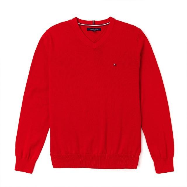 【Tommy Hilfiger】TOMMY 經典V領Logo毛衣-紅色