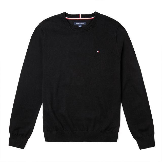 【Tommy Hilfiger】TOMMY 經典圓領Logo毛衣-黑色
