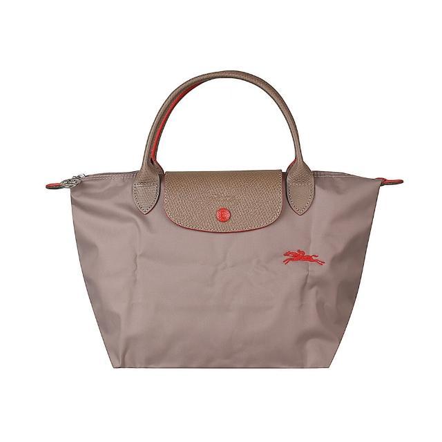 【LONGCHAMP】LONGCHAMP刺繡LOGO撞色設計尼龍短提把拉鍊摺疊手提包(小/卡其x紅)