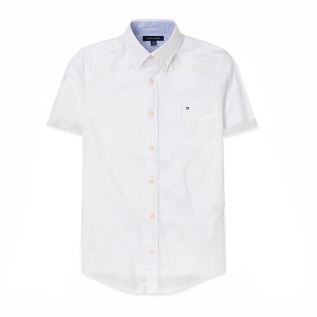 【Tommy Hilfiger】TOMMY 經典刺繡Logo口袋短袖襯衫-白色