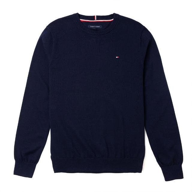【Tommy Hilfiger】TOMMY 經典圓領Logo毛衣-深藍色